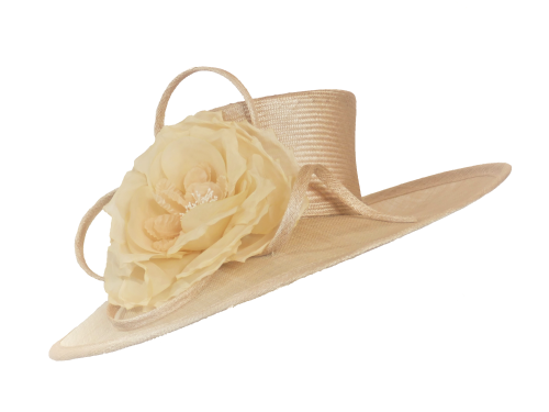 Large Calico Natural Nude hat w silk rose by Whiteley 645/129