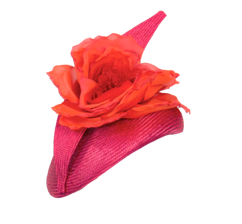 Hot pink pillbox hat with dramatic handmade orange silk rose by Whiteley 43
