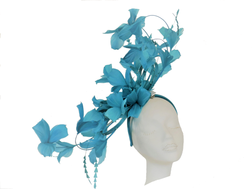 Turquoise Teal feather fascinator  PB-2024