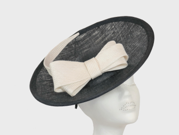 Dark navy disc hat with White or Ivory bow detail WHC 643/142
