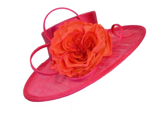 Cerise pink hat with dark orange silk rose WHC 645/129
