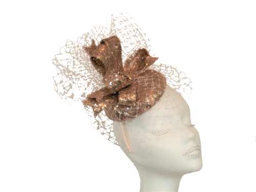 Rose gold sequin pillbox hat JB066
