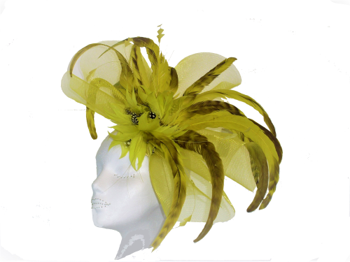 Deep yellow animal print feather & crin ANN-024