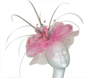 Soft Pink and Silver Crin HP on alice band ANN-023