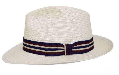 Regimental Panama Hat Band 4 - Navy/Red