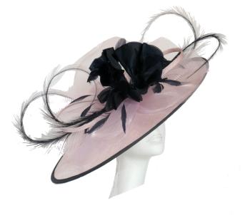 Blush pink & dark navy saucer hat SNX-RJ806