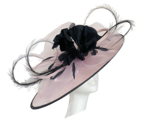 Blush pink & dark navy saucer hat SNX-RJ806