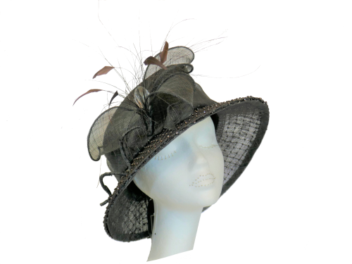 Chocolate brown hat with diamonte brim BL8905