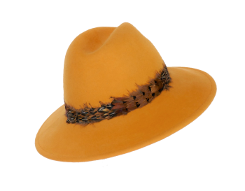 Mustard Yellow Suede felt Hat with Pheasant Feather band FM-9203