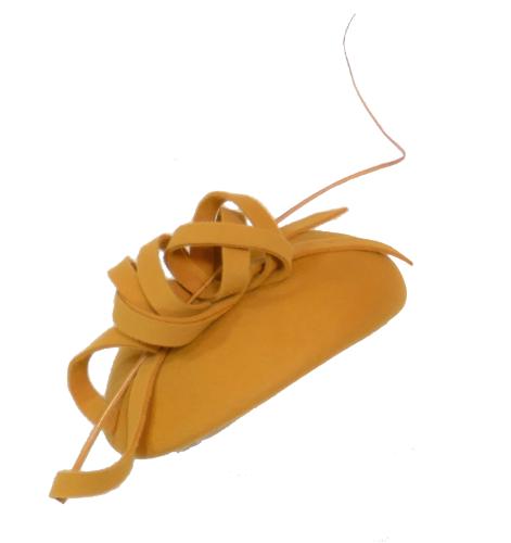 Mustard wool felt beret style FM-9206