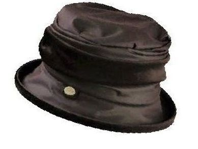 Victoria Brown waxed cotton and velvet rain hat by Olney