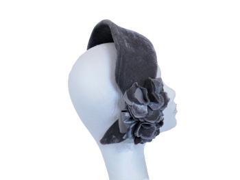 Mercury grey velvet halo headband ZF5