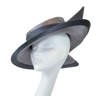 Grey satin & parisisal cocktail hat handmade by Anna at The Beverley Hat Company