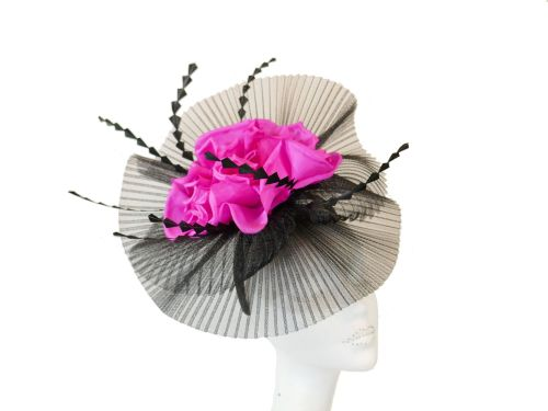 Black & Hot Pink Statement Fascinator SNX-SO