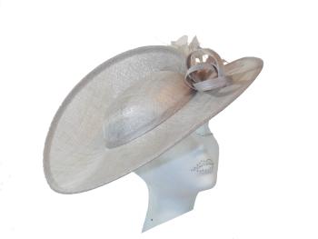 Metallic Silver Grey Split Disc Hat by Maddox H62