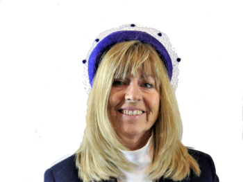 Cobalt Blue headband with veiling trim FM-9325