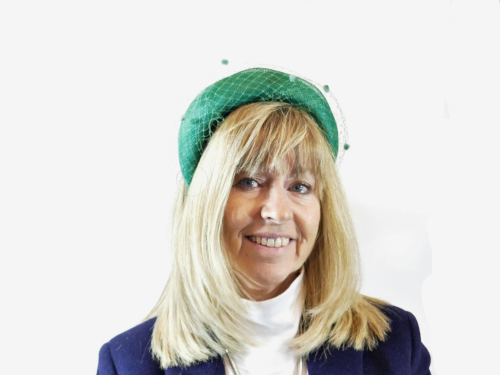 Emerald green headband with veiling trim FM-9325