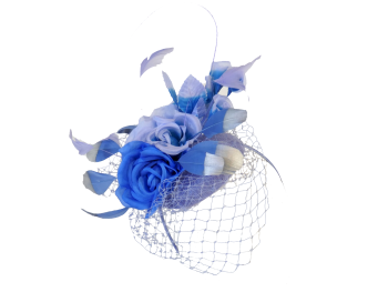 Button hat  in blues with silver tipped feathers & veiling EB20/776