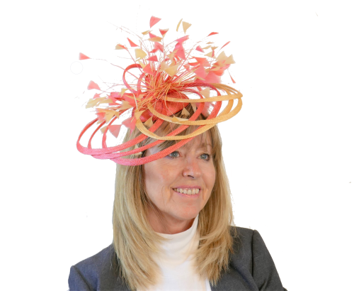 Yellow & Orange swirl fascinator by Maddox F19