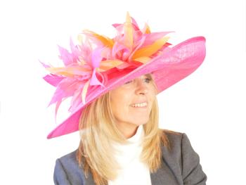 Large  Raspberry pink and pale orange hat EB19/752
