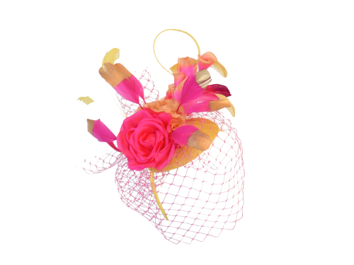 Hot Pink & Yellow  button hat with gold tipped feathers & veiling EB20/776