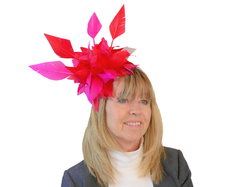 Hot Pink & Red Feather fascinator with quills JB20/171