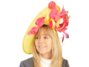 Yellow Disc Hat with veiling, hot pink orchids & gold tipped feathers JB20/777