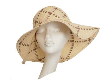 1960's style floppy brim straw hat S43