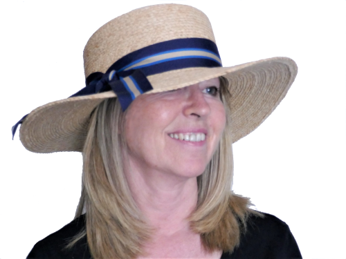 Ladies boater style straw sunhat OS-232 Blue band