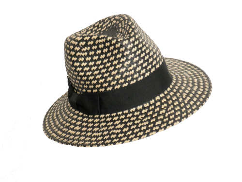 Black & Natural Ladies quality straw Fedora OS-225
