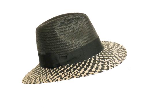 Black & Natural Ladies quality straw Fedora black crown OS-223