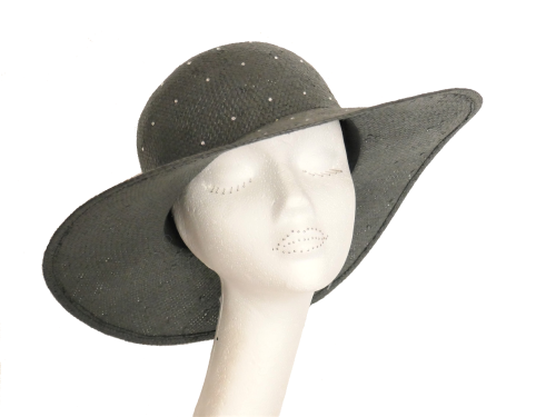 Charcoal Diamante Summer Straw Hat PR-DIA