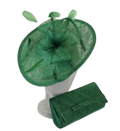Teardrop shaped disc and matching clutchbag Emerald Green AD1