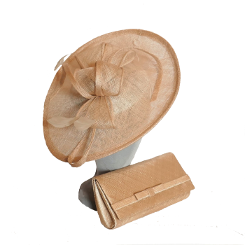 Teardrop shaped disc and matching clutchbag Natural nude AD1