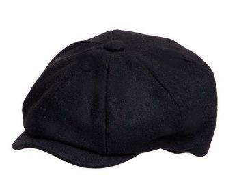 Denton Hats 8 pc black wool Peaky Blinders Melton cap