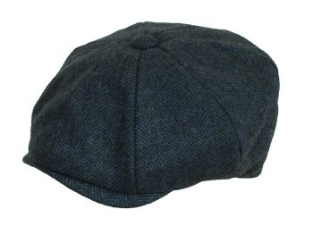 Denton Hats 8 pc Navy wool Herringbone Peaky Blinders cap BL102
