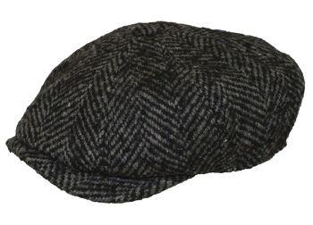 Denton Hats 8 pc Chunky Tweed cap - Grey herringbone CH3