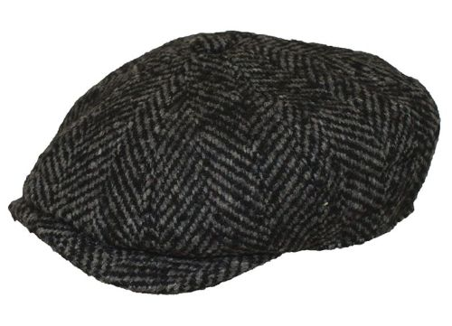 Denton Hats 8 pc Chunky Tweed cap - Grey herringbone CH3
