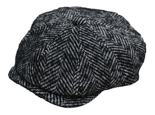Denton Hats 8 pc Chunky Tweed cap - Black/wt herringbone CH4