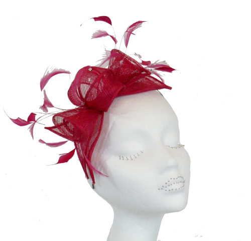 Sinamay & Crystal fascinator CF1 ROUGE