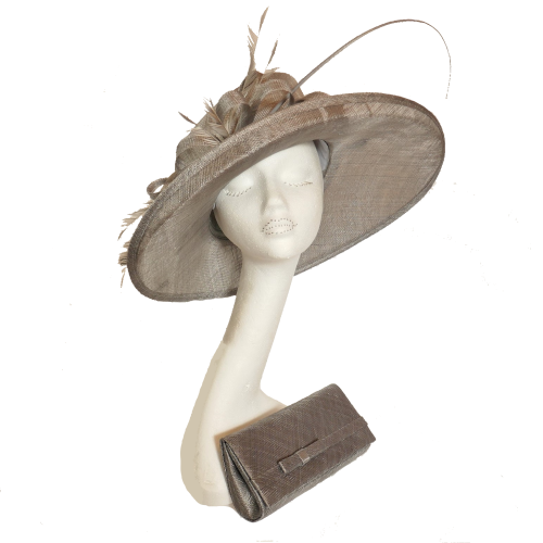 Mercury mid grey sinamay hat with angled crown and matching clutch bag AH1