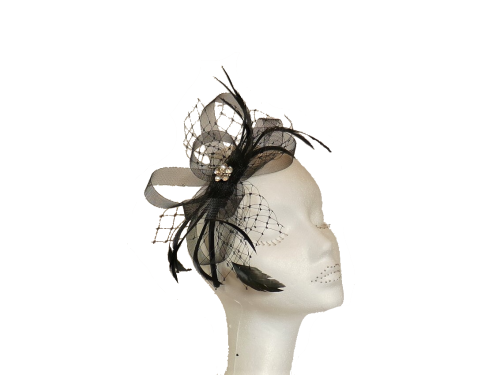 Net & Crystal headband Black LB503
