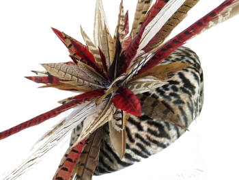 Animal print wedge pill with pheasant feather detail handmade by Anna at The Beverley Hat Co