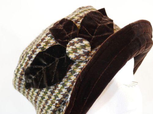 ANN-029 Houndstooth Harris Tweed & Brown Silk velvet hat