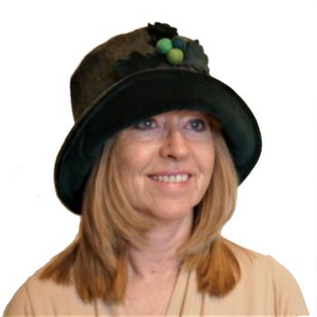Handmade Donegal Tweed & Dark Green velvet hat with acorn trim Size M/L