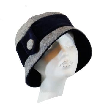 1920's style Handmade Blue/Grey Harris Tweed and Navy velvet 1920's Cloche hat M/L