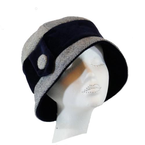 Handmade Blue/Grey Harris Tweed and Navy velvet 1920's Cloche style ladies
