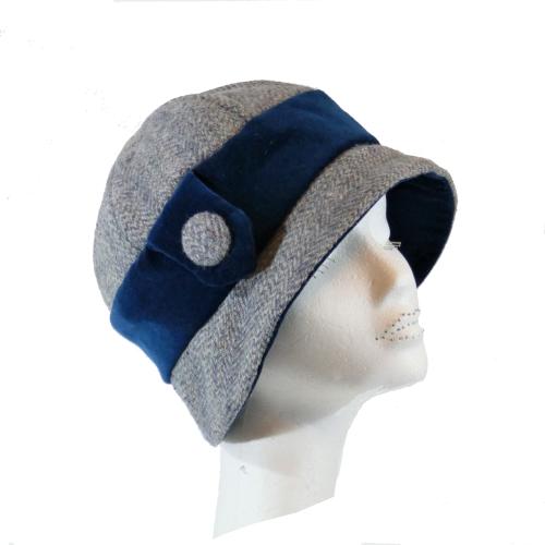 Handmade Blue/Grey Harris Tweed and Teal velvet 1920's Cloche style ladies
