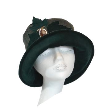 Handmade Donegal Tweed & Dark Green velvet hat with leaf trim Size S/M