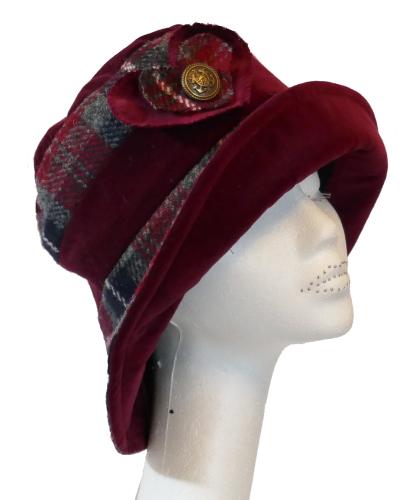 Handmade Harris Tweed & Red Wine velvet hat with heart trim Size M/L